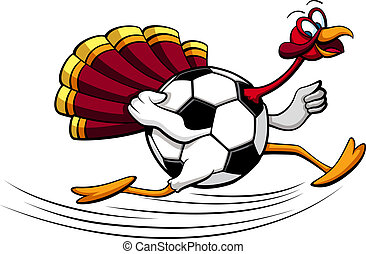 Thanksgiving Turkey Soccer or Football - illustration of a...