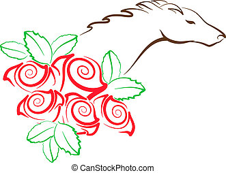 Horse and Roses - illustration of stylized horse head with...