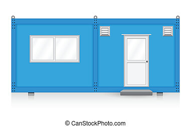 Container house - Blue container house on white background.