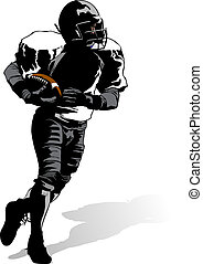 Football Runner with Shadow - illustration highlights of a...