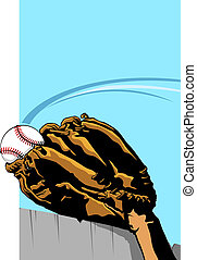 Baseball Homerun Catch - Closeup of baseball player catching...