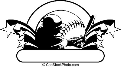 Baseball Hitter Star Design - Vector illustraton of a...