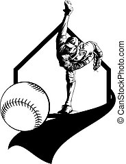 Baseball Pitcher and Pennant