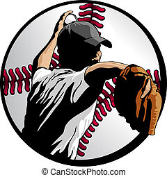 Baseball Pitcher Closeup In Ball - Closeup vector...