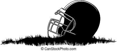 Football Helmet in Grass - Illustration of a football helmet...