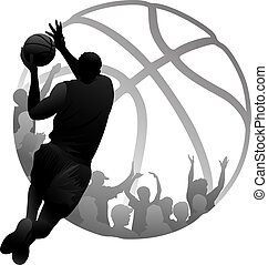Layup Basketball Fans - Silhouette design of a driving...
