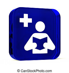 Medical Library - Glass button icon with white health care...
