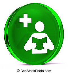Medical Library - Round glass icon with white health care...