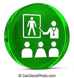 Health Education - Round glass icon with white health care...
