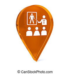Health Education - Glass GPS marker icon with white health...