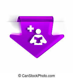 Medical Library - Glass arrow page marker icon with white...