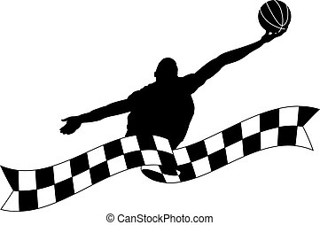Silhouette of Basketball Rebound with Checked Banner -...