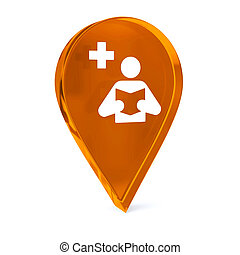 Medical Library - Glass GPS marker icon with white health...