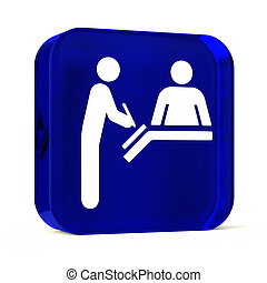 Registration Desk - Glass button icon with white health care...