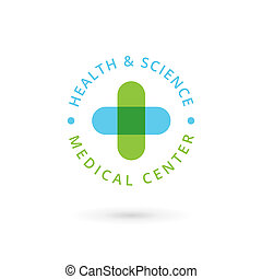 Medical center logo icon design template with cross and...