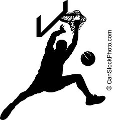 Basketball Dunk Silhouette - Silhouette of baskeball dunk.