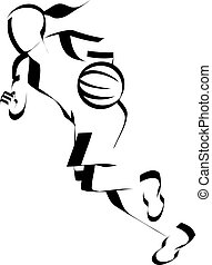 Girl Basketball Dribble Accent - Stylized illustration of a...