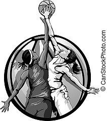 wbasketball_jumpball3halftone - Basketball jumpball...