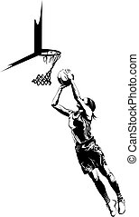 Women's Basketball Layup - Black and White illustration of a...