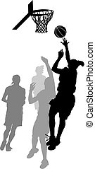 Women's Basketball Layup - Silhouette of a women's...