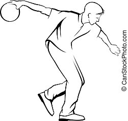 Young Man Bowling - illustration of a young man bowling.