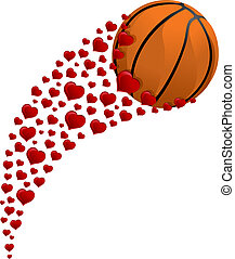 Valentine Basketball Swoosh - illustration of a basketball...