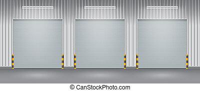 Shutter door - Exterior of factory with shutter door, night...