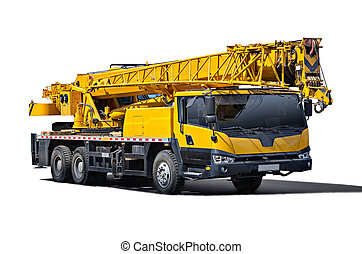 Truck Crane Isolated object on a white background all logos,...