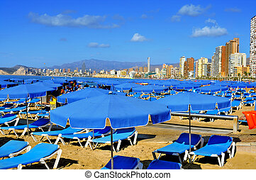Levante Beach, in Benidorm, Spain - view of Levante Beach in...