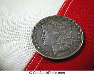 Old Coin on Flag Stripes - 1883 Silver Coin on US Flag...