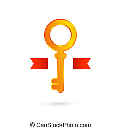 Gold key logo icon design template. Real estate symbol sign.