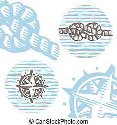 Vintage marine symbols vector icon set: engraving knot and wind