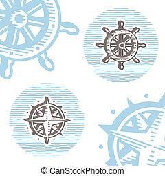Vintage marine symbols vector icon set: engraving wheel and wind