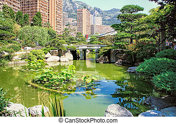 Japanese garden of Monaco, with a Japanese house and a pond...