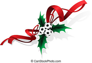 Soccer or Football Holly and Ribbon - Three football or...