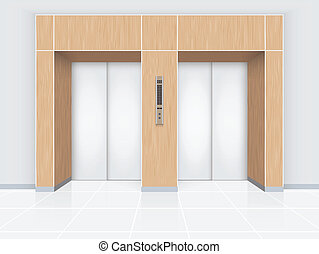 Elevator - Illustrator of elevator door with wood wall.