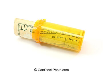 $10 copay - $10 bill rolled and placed into medication pill...