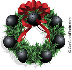 Christmas Bowling Wreath With Red Ribbon - Illustration of a...