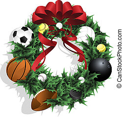 Christmas Sports Wreath With Red Ribbon