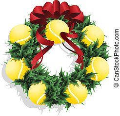 Christmas Tennis Wreath With Red Ribbon - Illustration of a...