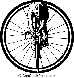 Bicycle Racer in Wheel - Black and white version of a...