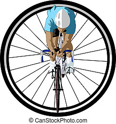 Bicycle Racer in Wheel - A cyclist from a front view...