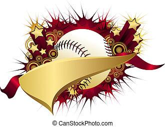 Golden Red Starburst Baseball Pennant