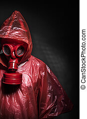 Ebola, infection, concept, homme, rouges, essence, masque