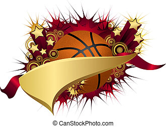 Golden Red Starburst Basketball Pennant