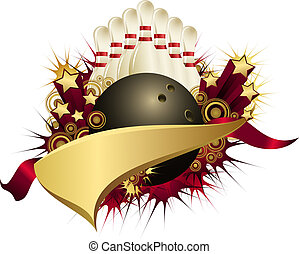 Golden Red Starburst Bowling Pennant - Illustration of a...