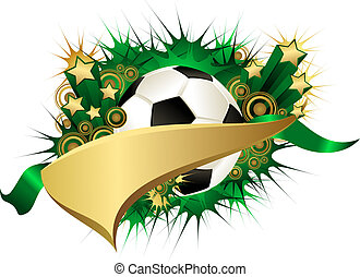 Golden Green Starburst Soccer or Football Pennant