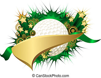 Golden Green Starburst Golf Ball Pennant