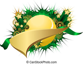 Golden Green Starburst Tennis Pennant