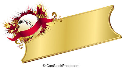 Golden Red Baseball Ticket - illustration of a baseball...